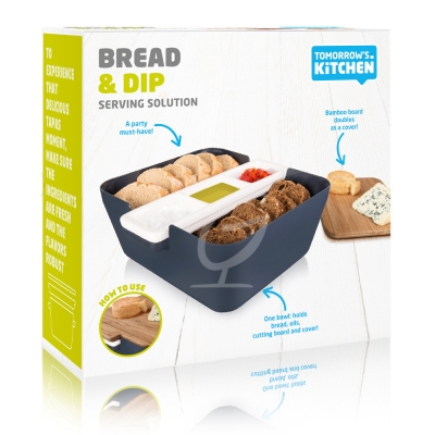 Bread & Dip Brotdose - Tomorrow`s Kitchen, Kunststoff/Bambus Denim