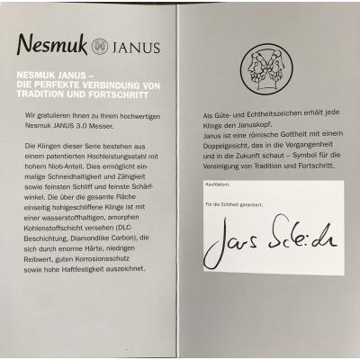 Nesmuk Messer Janus Slicer mit Silberzwinge, Rarität / Griff: Micarta White