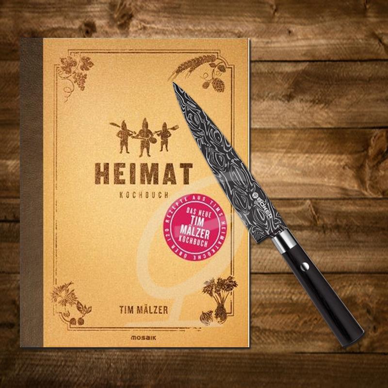 Tim Mälzer Kochbuch: Heimat inkl. Böker Damast Allzweckmesser