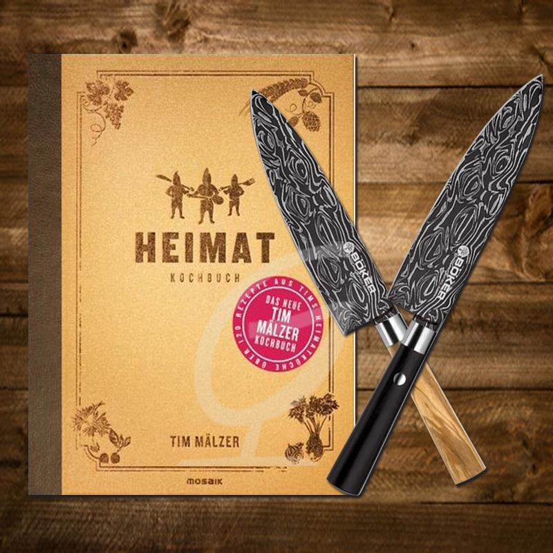 Tim Mälzer Kochbuch: Heimat inkl. 2 Böker Damast Kochmessern Olive-und schwarzen Griff