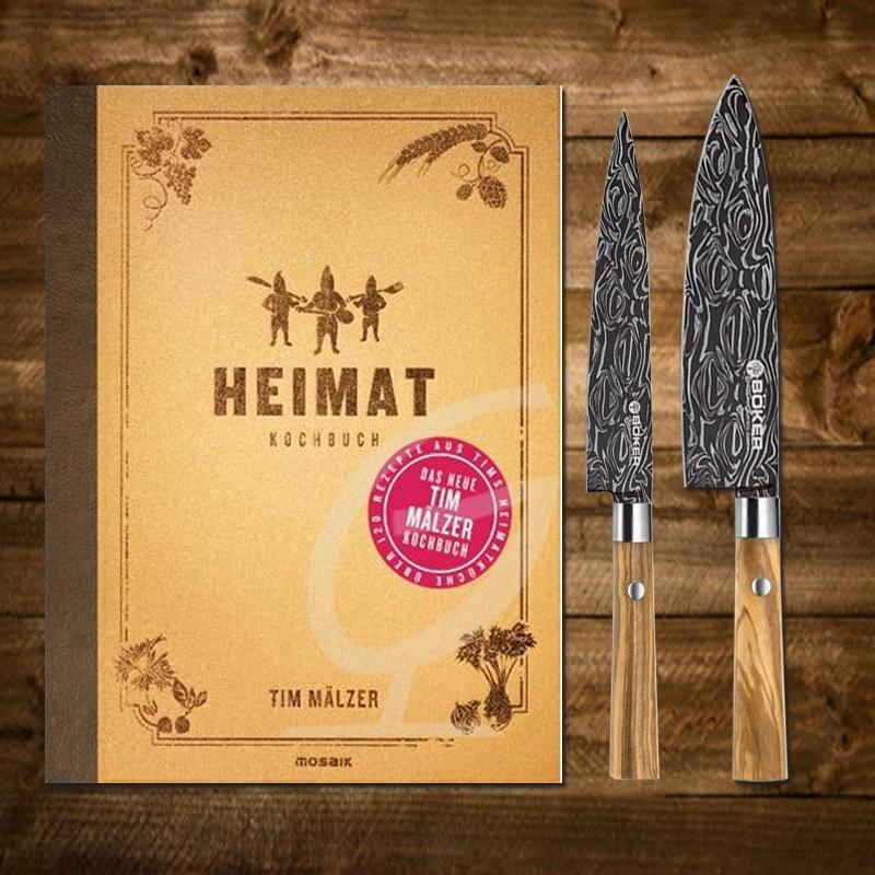 Tim Mälzer Kochbuch: Heimat inkl. Böker Damast Koch-und Allzweckmesser