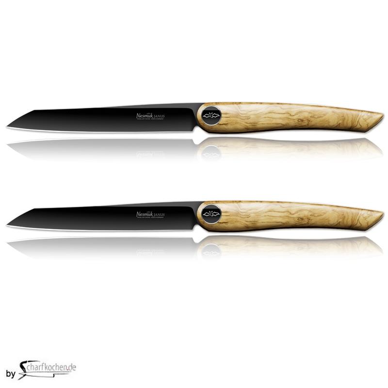 Nesmuk Janus Steak- und Tafelmesser - 2er Set / Griff: Olive