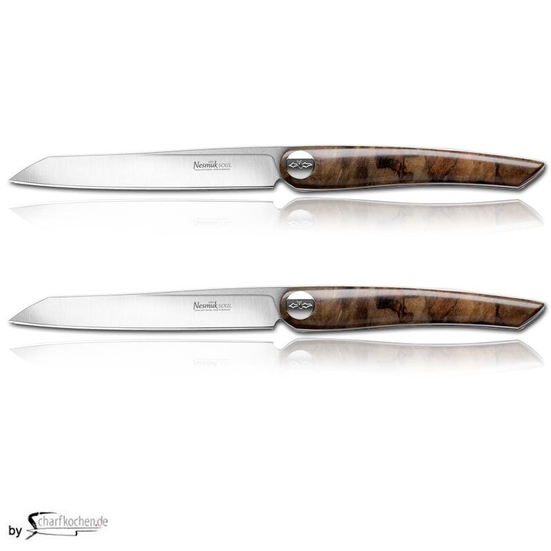 Nesmuk Soul Steak- und Tafelmesser - 2er Set / Griff: Lorbeer Maser