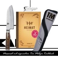 TDM1727-W14 Tim Mälzer Messer Set  Santoku + Messertasche und Buch  KAI SHUN Premier