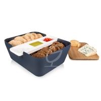 Bread & Dip Brotdose - Tomorrow`s Kitchen, Kunststoff/Bambus Denim