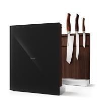 Nesmuk Messerhalter Walnuss-dunkel - Glas schwarz
