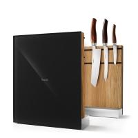 Nesmuk Messerhalter massive Eiche - Glas schwarz