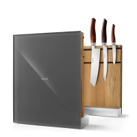 Nesmuk Messerhalter massive Eiche - Glas grau