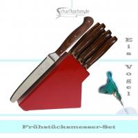 Messerblock mit 6 Frühstücksmessern -rot-
