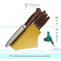 Messerblock mit 6 Frühstücksmessern -gelb-