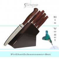 Messerblock mit 6 Frühstücksmessern -braun-