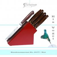 Messerblock mit 6 Steakmessern -rot-