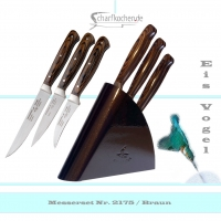 3er Set Schälmesser mit Block Eisvogel in -braun-