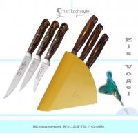 3er Set Schälmesser mit Block Eisvogel in -gelb-