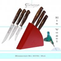 3er Set Schälmesser mit Block Eisvogel in -rot-