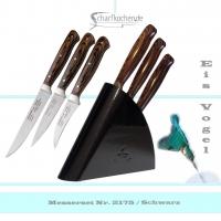 3er Set Schälmesser mit Block Eisvogel in -schwarz-